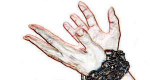 stylised drawing of hands in chains