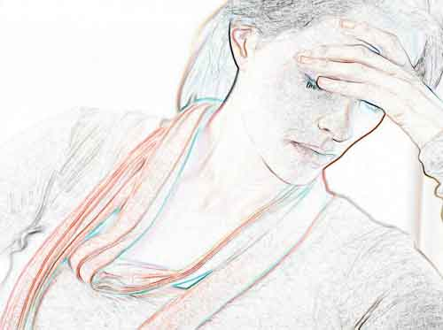 stylised drawing of woman with her hand to her forehead