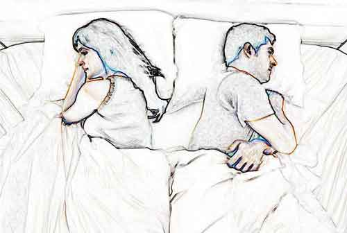 stylised drawing of a couple back to back in bed