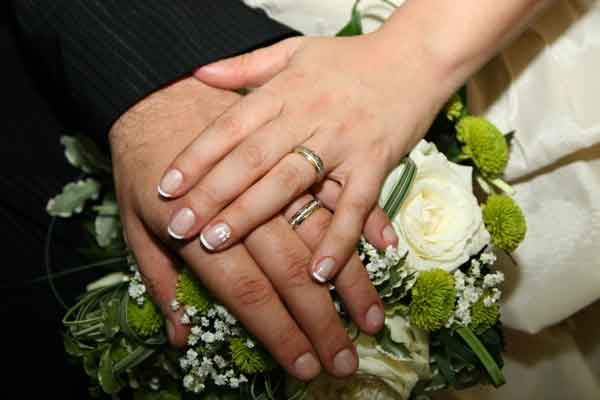 hands displaying wedding rings
