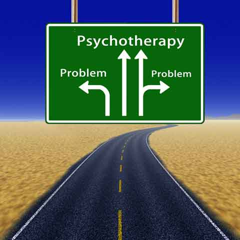 road sign illustrating psychotherapy as a way to deal with problems