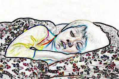 stylised drawing of a sleeping child
