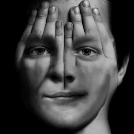 digitally manipulated image representing a boy who is experiencing schizophrenia