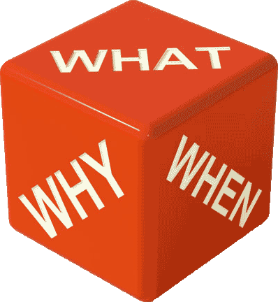 a die with the words; 'What', 'Why' and 'When' on three sides