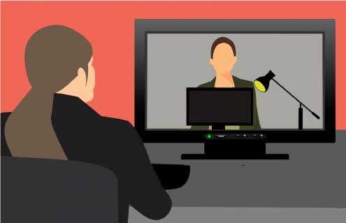 graphical illustration of a video conference