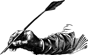 line drawing of hand holding quill