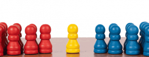 illustration of the concept of mediation with coloured chess pieces